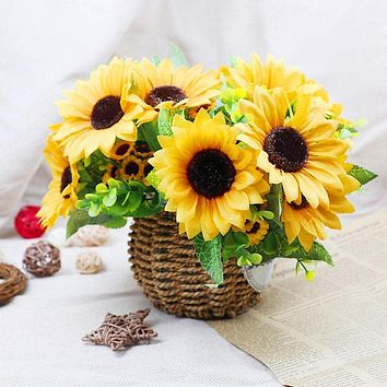 YGS Design Collection 7 Branches Silk Sunflower Bouquet for Decorations