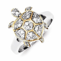 Sterling Silver CZ And Flash Gold-Plated Turtle Ring