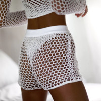 White hot beach hollow mesh knit weave shorts pants only sale shorts