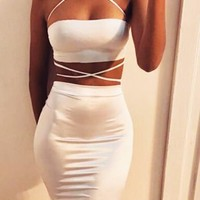 Strapless White Wrap-Around Two-Piece Dress