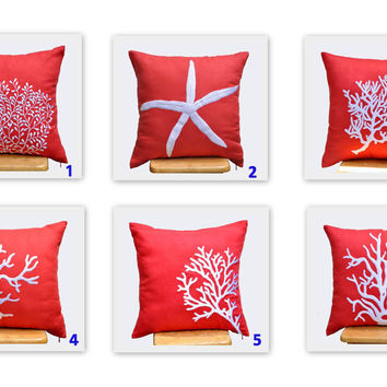 Orange Coral Pillow Covers 18 x 18 Throw Pillow Cover  by KainKain