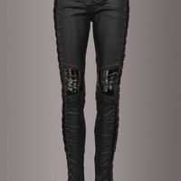 Back in Black Punk Rave Faux Leather Lace Up Skinny Pants