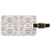 Simple Floral and Shapes on White Bag Tag