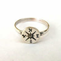 Compass ring sterling silver Sale. - FREE ENGRAVING Outside only - Custom