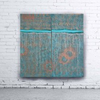 View: copper patina turquoise 100x100x2 cm Vertical long painting decor A144 original abstract art Large paintings stretched canvas acrylic art industrial metallic textured wall art by artist Ksavera | Artfinder