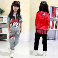 2pcs Baby Girls Kids Minnie Mouse Clothes Set Long Sleeve Hooded Coat Pants Oufits Clothes Set 2-7Y