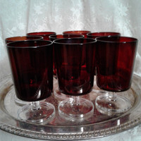 Ruby Red Stemmed Goblets, Arcoroc France, 1970s MCM Tableware, Set of Eight, Gorgeous Clear Stems, Madmen Era Decor