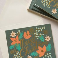 Shimmering Boughs Boxed Christmas Cards by Rifle Paper Co. Green Set Of 8 House & Home
