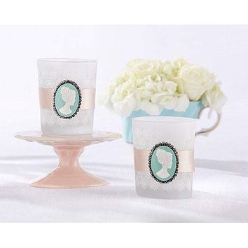 Cameo Frosted Lace Glass Tea Light Candle Bridal Wedding Favors Set of 8