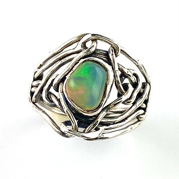 Ethiopian Opal Rough Industrial Sterling Silver Ring
