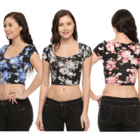 Sexy Floral Print Scoop Neck Short Sleeve Stretch Cropped Belly Tee Shirt Top