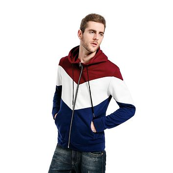 Men's Color Matching Hooded Cardigan Long Sleeve Sweaters