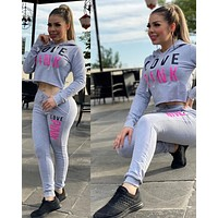 Victoria's secret PINE Women Casual Fashion Top Sweater Pullover Pants Trousers Set Two-Piece Gray