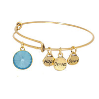 Believe Dream Hope Expandable Bangle Bracelet Birthstone Charm March Gold Plate