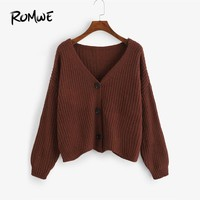 ROMWE Brown Single Breasted Solid Sweater Women Casual Autumn Plain V Neck Long Sleeve Clothing Ladies Spring Cardigan Sweater