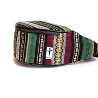 Bumbag (fanny pack). Traditional southern Spain fabric (Andalusia). The product contains a leather wallet for ID, credit cards and money.