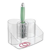 mDesign Hair Care Tools Holder for Brushes, Accessories, Combs, Hair Ties, Clips - Clear