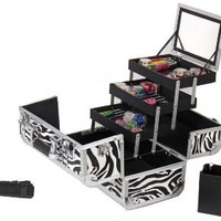 SHANY Premier Fantasy Collection Makeup Artists Cosmetics Train Case - Zebra texture