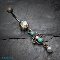Vintage Rustica Elegant Jeweled Pearl Belly Button Ring