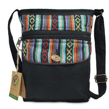 Maya Boho Black Cross body Purse with Bohemian Tribal Aztec Pattern