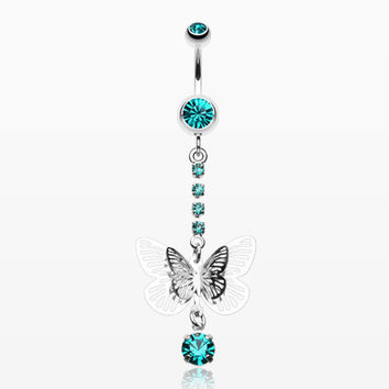 Sparkle Flutter Butterfly Belly Button Ring