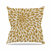 "888 Design ""Abstract Golden Flower"" Gold Tan Outdoor Throw Pillow"