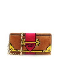 Prada Portafoglio Pattina Cammello Brown and Pink Velvet Ricamo Wristlet 1MH019