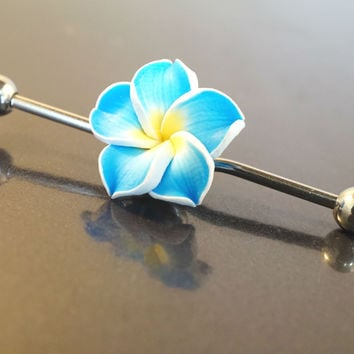 Blue Hawaiian Flower Industrial Bar Barbell Piercing Upper Ear Ring