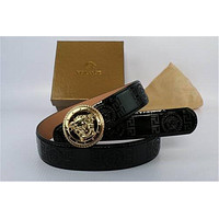 Versace Belt With Gold Buckle, Genuine Black Leather Belt