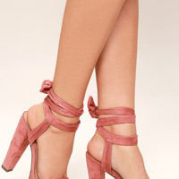 Corrine Dusty Pink Suede Lace-Up Platform Heels