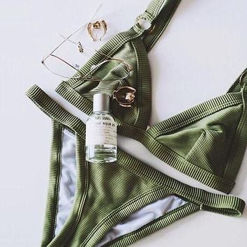 Army Green Beach Bikini Set Swimsuit Swimwear