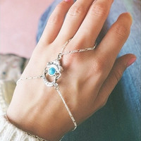 Bohemian Turquoise and Silver Chain Hand-Piece