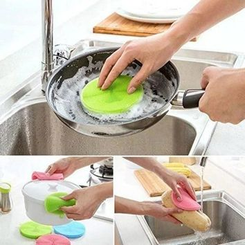 New Silicone Dish Washing Sponge Scrubber Cleaning Antibacterial Kitchen Tools