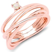 LoveHuang 0.04 Carats Genuine Ethiopian Opal Wire Ring Solid .925 Sterling Silver With 18KT Rose Gold Plating