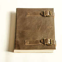 Giant Buckled secure Archive leather notebook journal Hand Stitched and hand bound with cotton recycled paper