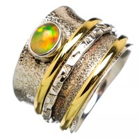 Spinner Ring Two Tone Ethiopian Opal Oval