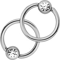 """Pair of 2 Rings: 14g 7/16"""" Surgical Steel Clear CZ Captive Bead Hoop Rings, 5 mm Balls"""