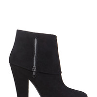 FOREVER 21 Zippered Foldover Booties Black