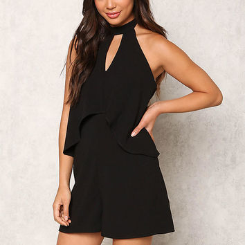 Black Layered Cut Out Halter Romper