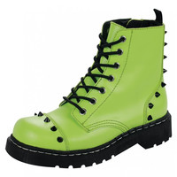 Neon Green Spike Anarchic Boot from T.U.K.