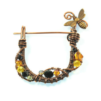 Honey Bee Brooch, Copper Wire Wrapped Jewelry, Bee Lover's, Scarf Pin, Swarovski Crystals, Handmade, One of a Kind, Lapel Pin