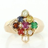 Rainbow Gemstone Coral Diamond 18 Karat Gold Vintage Cocktail Ring Estate Jewelry