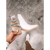 Jena Cut Out Snake Booties (White/Multi)