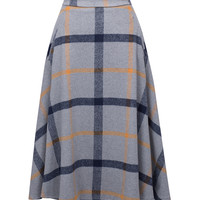 Gray Color Block Plaid Print Wool Midi Skirt