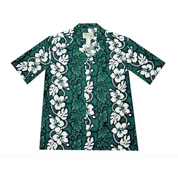 KY's Mens Green Button Down Hawaiian Shirt with White Hibiscus
