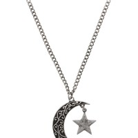 Fad Treasures Burnished Silver Moon & Star Necklace
