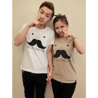 Moustache Matching Best T Shirts for Couples Set of 2