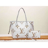 LV Louis Vuitton Fashion Women Leather Handbag Tote Shoulder Bag Purse Wallet Set Two-Piece White