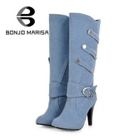 BONJOMARISA Spring Knee High Boots Women High Heels Buckle Metal Rivets Round Toe Platform Punk