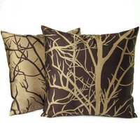 Throw Pillow Covers Brown Tan Tree Branches Home Decor Decorative Set Of Two